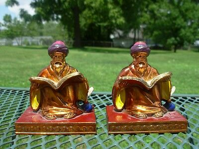Antique Pair of L. V. Aronson Metal Scholar Bookends~Dated 1923 ~Signed~NICE~
