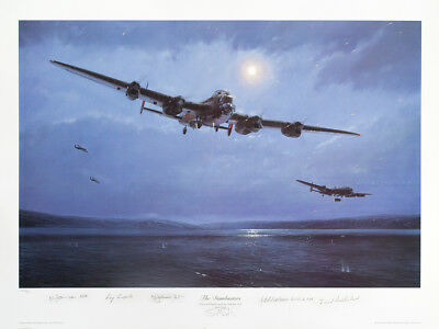 Rare Lancaster Dambuster 5 Crew Signed Aviation Print Lancaster By Simon Smith