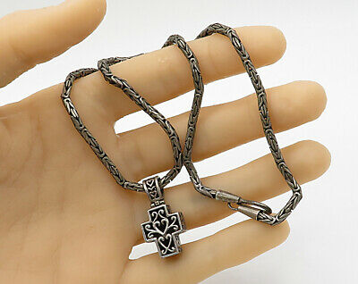 925 Sterling Silver - Vintage Byzantine Cross Love Heart Necklace - N1778