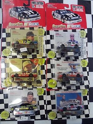 LOT OF 6- 1/64 NASCAR Racing Cars Cards Parsons Cope Keller Pearson Sawyer