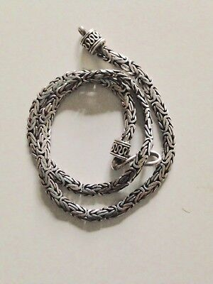"NEW Byzantine 18"" Solid Handmade 3m Sterling Silver Heavy Necklace"