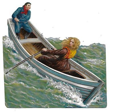 Antique Victorian Diecut Scrap Girl Rowing Boat in Stormy Weather 1880s-90s