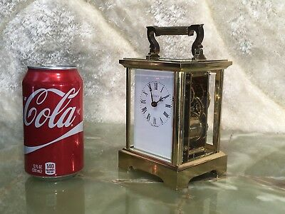 BRASS ENGLAND QUINCY 11 JEWELS BELL CHIME STRIKES MECHANICAL CLOCK W 2 Keys WORK