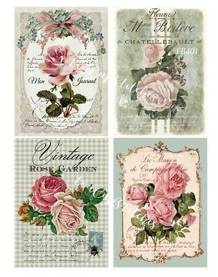 Vintage Pink Roses~French~4 FABRIC BLOCKS~Shabby Cottage Chic Cuties~Pillow~401