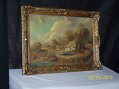 Antique Original Oil On Canvas Dutch Gallery Painting Artist Signed