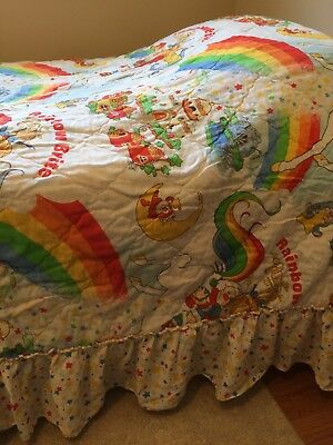 Vintage Rainbow Brite Twin Bedspread With Attached Ruffle - VG Condition
