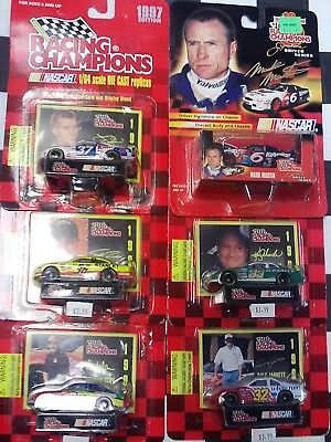 LOT OF 6- 1/64 NASCAR Racing Cars Cards Martin Schrader Jarrett Mayfield Bodine