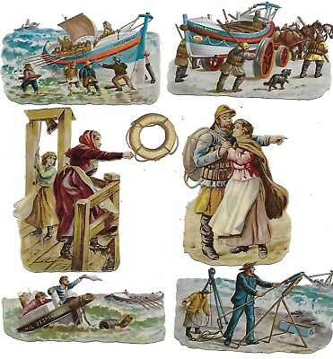 Antique Victorian Diecut Set of 10  Scraps from Lifeboat Inst.  R.Tuck 1880s-90s