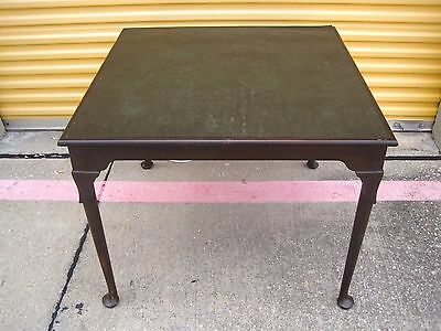 """Vintage 35"""" Wood & Green Leather Top Card Game Poker Playing Pad Foot Table"""