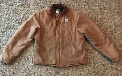 CARHARTT Mens Vintage Brown Canvas Jacket Quilts Lined Size 44 Tall