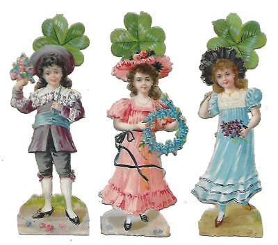 Antique Victorian Diecut Scrap Set of 3 Kids with 4leaved Clovers 1890s-1900