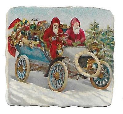 Antique Victorian Diecut Scrap Santa and his brother headin' South 1890s-1900