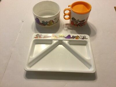 3 Piece 1987 Whirley Industries Inc McDonald's Childs Set Mug/Lid, Bowl, Tray