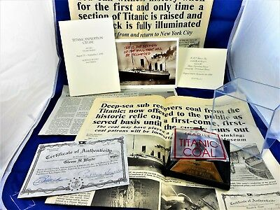 Authentic Titanic Coal Recovered From the 1912 Wreckage With COA & Other Items