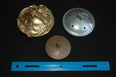 GROUP of 3 LOT Antique VTG Brass Metal Lids Covers Parts for teapot bowl & jars