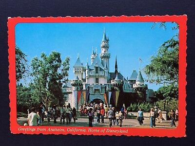 DISNEYLAND Postcard GREETINGS from ANAHEIM  Sleeping Beauty's CASTLE Fluted HTF