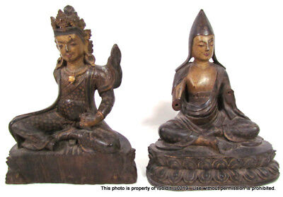 PAIR ANTIQUE 15TH CENTURY TEAK CARVED BUDDHIST ACOLYTE FIGURES Hindu Statues