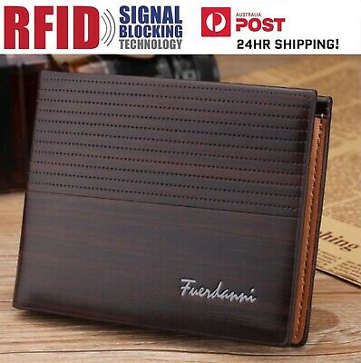 Men's Brown Leather RFID Blocking Anti Theft Wallet ! AU STOCK!