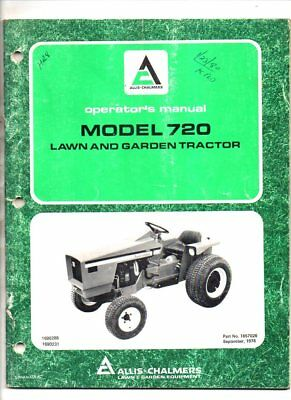 Allis chalmers operators manual model 720 lawn and garden tractor 1978