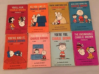 Vintage Lot of 8 Charles M. Schulz/Charlie Brown/Peanuts/Snoopy Books - 1967-69