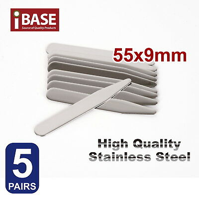 10x Collar Stays Stainless Steel Stiffener Metal 55 mm long Shirt tie Silver SUS