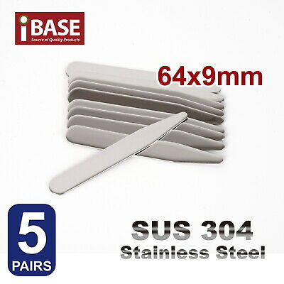 10x Collar Stays Stainless Steel Stiffener Metal 64 mm long Shirt tie Silver SUS