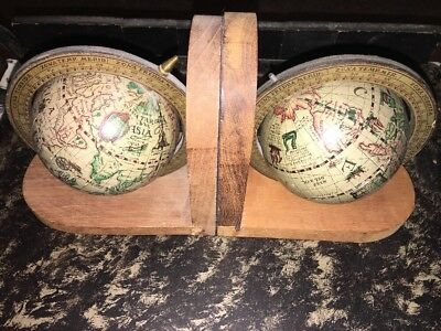 Vintage Pair Old World Map Globe Bookends Spinning /Rotating, Wood Base