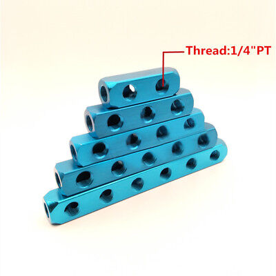 2018 1/4NPT Thread 5Port 2 Way Quick Connector Air Hose Manifold Block Splitter