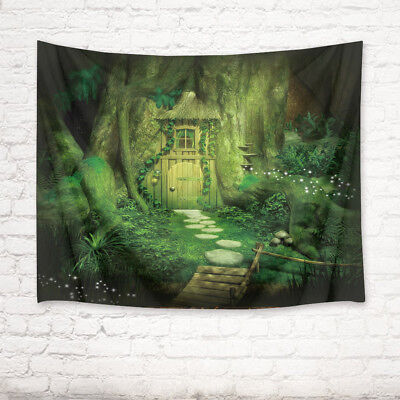 Halloween Fairy Tale Tree House Tapestry Wall Hanging Living Room Bedroom Decor