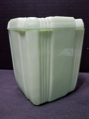 """Vintage 5"""" Green Jadeite Canister with lid in Criss Cross pattern."""