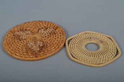 M9827: Japan Bamboo Wickerwork/Ajiro-shaped Sencha Kyusu TEAPOT TRAY/stand 2pcs