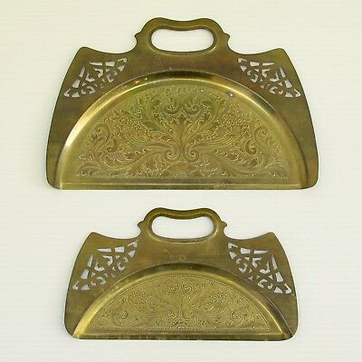 SET 2 Vintage Engraved Brass Crumb Catchers Silent Butlers Sweep Pans w/ Handles