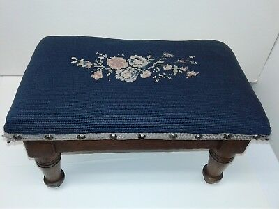 Victorian Antique Needlepoint Footstool Footrest Blue Pink Floral Foot Stool