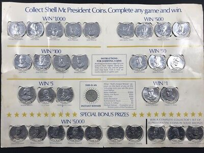 Vintage 1968 Shell Mr.president Coin Game Promotion Playing Board