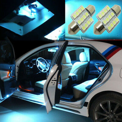 2x Ice Blue 31mm 12smd LED DE3175 Bulbs Interior Dome Map door Lights For Acura