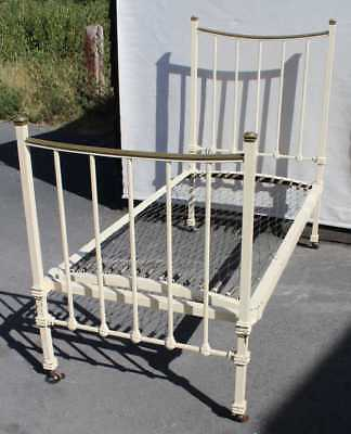 1900's Single Brass and Iron Bed with Base. CHECK SIZE