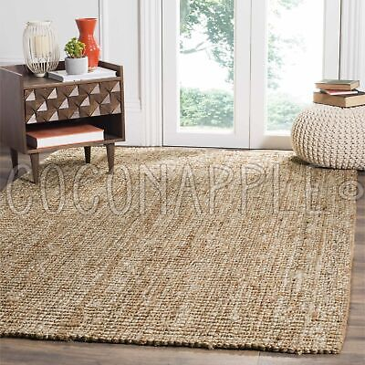 Surat Natural Woven Jute Beige Chunky Floor Rug - 6 Sizes **FREE DELIVERY**