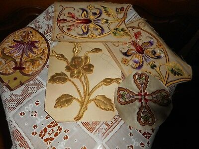Lot of antique ecclesiastical gold embroidered textile