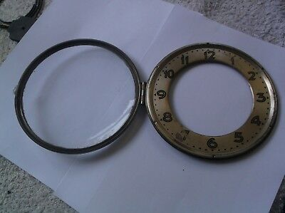 GLASS / RIM/FACE  FROM AN OLD UWS MANTLE CLOCK  OUTER 6 1/4 inch diam