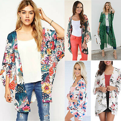 Womens 3/4 Sleeve Summer Floral Boho Kimono Cardigan Ladies Casual Jacket Tops