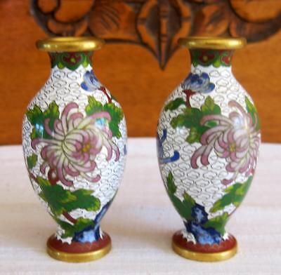 Chinese Cloisonne Two Small Enamelled Vases 10.5 Cm. With Mauve Crysanthemums