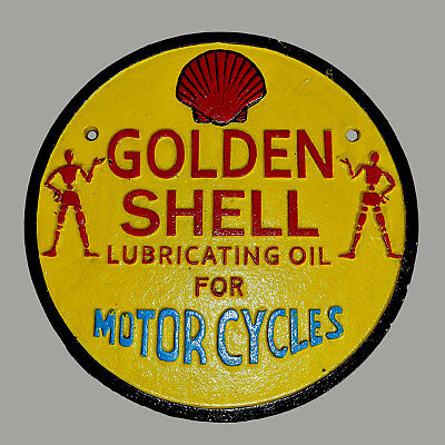 Shell Motorcycle Garage Sign Cast Iron Repro 1930s Plaque Large 23.5cm