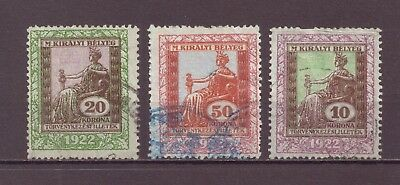 Hungary, Revenue Stamps, Used, 1922 OLD