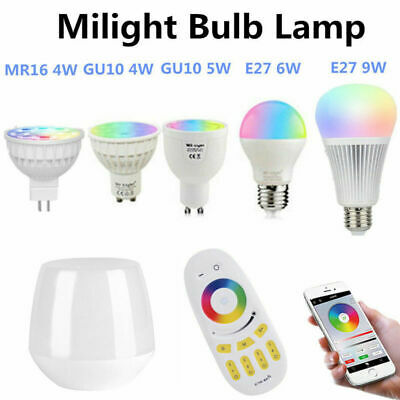 Milight RGBW W/WW E27 GU10 MR16 LED Light Dimmable RGB Bulb Lamp 2.4G Wireless T