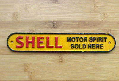 Shell Motor Oil Sold Here Sign Repro 1920s Cast Iron Plaque 28cm Garage Workshop