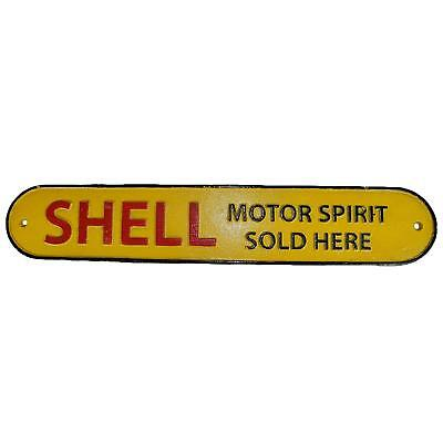 Shell Motor Oil Sold Here Sign Repro 1920s Cast Iron Plaque 50cm Garage Workshop