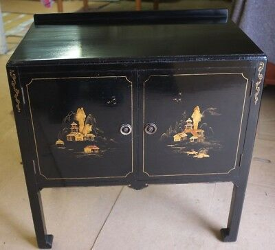 Vintage Chinese Black Lacquered Cabinet Oriental Furniture 85 00