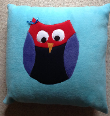 Handmade fleece cushion with owl - children