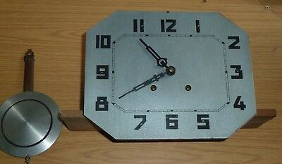 Vintage French Art Deco ting-tang clock movement with dial & pendulum