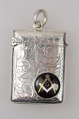 Masonic Silver Antique Engraved Match Vesta Case With Safety Loop